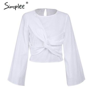 Women's Cross Flare Sleeve Elegant Short Linen Casual Blouse