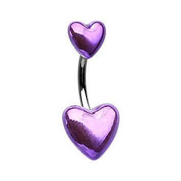Two of Hearts Metallic WildKlass Belly Button Ring