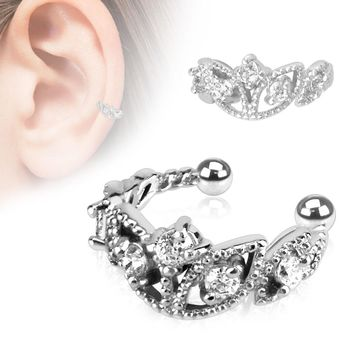 Beads Trimmed Clear CZ Rhodium Plated Brass Non-Piercing Ear Cuff   Overstock.com Shopping - The Best Deals on Cubic Zirconia Earrings