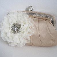 Gorgeous Champagne Satin Rhinestone Trimmed Clutch with Beautiful Ivory Chiffon Flower and Rhinestone Accent Clutches Purses Wedding Acc.