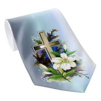 Golden Easter Cross and White Lilly Flowers Neck Tie