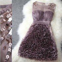 HOLLOW OUT FLOWER FULL ROMANTIC NICE DRESS