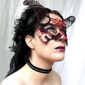 Devil masquerade mask handmade by gringrimaceandsqueak on Etsy