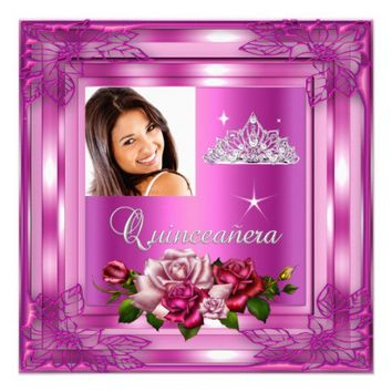 Quinceanera 15 Party Pink Roses Photo Invites from Zazzle.com