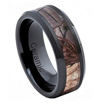8mm Black Ceramic Wedding Band Ring High Polish with Forest Floor Foliage Camo Inlay Beveled Edge