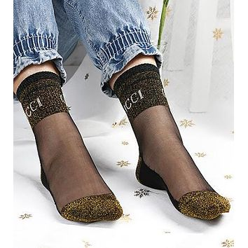 "Hot Sale ""GUCCI"" Newest Popular Women Bright Silk Vintage Crystal Stockings Breathable Cotton Sport Socks"