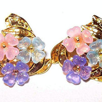 "Pastel Cluster Flower Earrings Post Backs Gold Metal Fashion Jewelry 3/4"" Vintage"