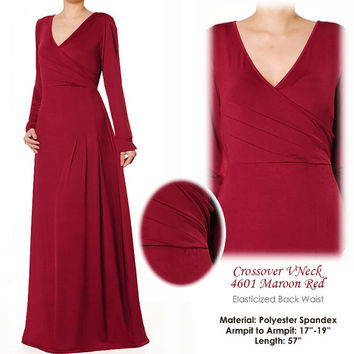 Crossover VNeck Jersey Long Sleeves Fashion Abaya Maxi Dress Size S/M - 4601 Maroon