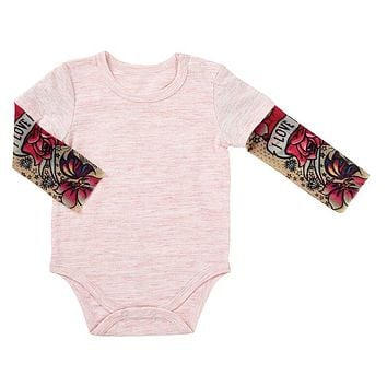 6 - 12 Months Pink Baby Tattoo Sleeve Snap Shirt