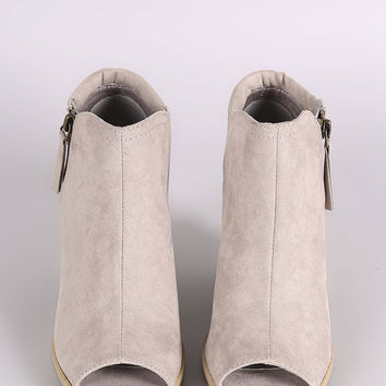 Qupid Suede Zip-Up Chunky Heeled Ankle Boots