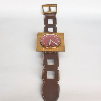 Vintage Wall Clock / Wristwatch  / 60's 70's Pop Art Design / Retro Watch Clock / Hettich Germany