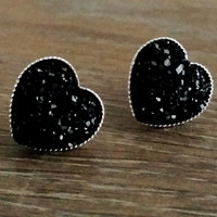 Druzy earrings- Black heart drusy silver tone stud druzy earrings