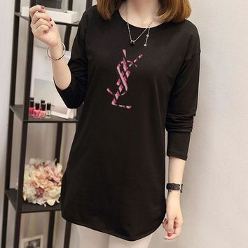 yves saint laurent women simple casual letter print long sleeve middle long section t shirt tops