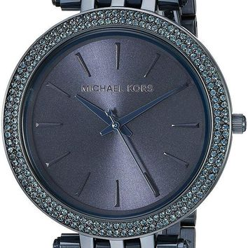 PEAP6 Michael Kors Women's Darci Navy IP Three Hand Watch