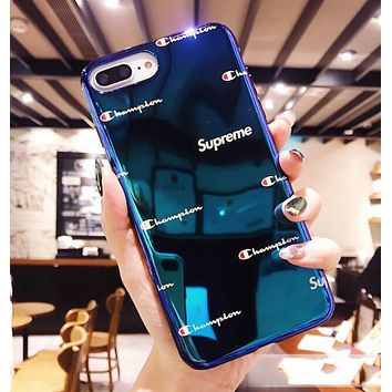 Champion X Supreme Popular Women Men Personality Blue-Ray Silicone Cellphone Case For iphone 6 6s 6plus 6s-plus 7 7plus iphone 8 iphone X Soft Protective Shell Blue I12717-1