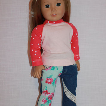 18 inch doll clothes, long sleeve shirt,  denim skinny jeans with lace and floral overlay, Upbeat Petites