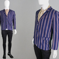 Vintage 60s Boating Blazer Regatta Stripe Blazer Mens Mod Sport Coat 3 Button Jacket Narrow Lapels Swinging London 1960s Carnaby Street