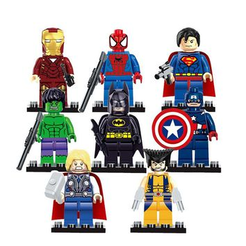 legoing The Avengers Justice League Super Hero Baby Hulk Captain America Superman Batman Thor Lron Man Action doll Figures Toys