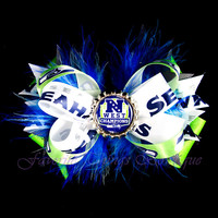 Seattle Seahawks NFC West Champions Hair Bow with Marabou