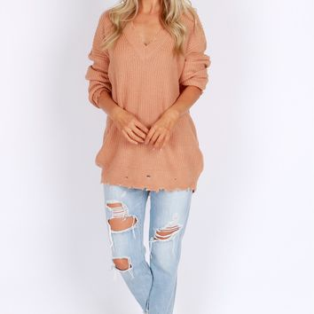 Distressed Pullover Sweater Dusty Coral