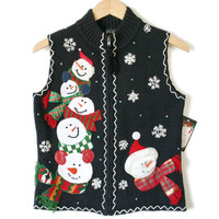 Stack of Snowmen Ugly Christmas Sweater Vest