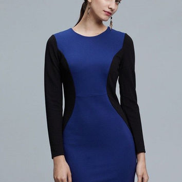 Contrast Color Long Sleeve Bodycon Zip Mini Dress