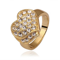 Gold Plated Jewels Crusted Heart Shaped Ring