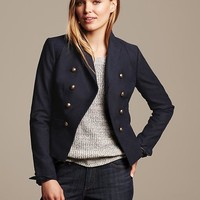 Banana Republic Womens Navy Cutaway Blazer