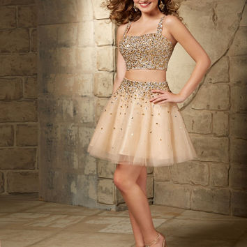 Short Spaghetti Straps Sexy Cocktail Dress Sexy Rhinestone Beaded Champagne Color Two Piece Prom Dress 2015 New Fashion X-067