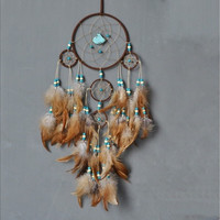 Brown Feathers Adorned Dreamcatcher 5 Circle Turquoise House Hanging Decorative Dream Catcher Wall Hanging Decor DIY Car Pendent Handmade Lovely Housewarming Gift (Color: Yellow)