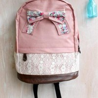 Floral Bowknot and Lace Backpack