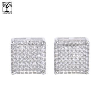 Jewelry Kay style Men's Iced Out Sterling Silver 3D Cube Square CZ Screw Back Earrings SHS 610 S
