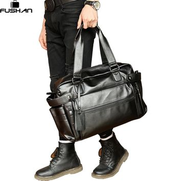 Young Fashion mens leather travel bag vintage duffle handbags large men business luggage bag with shoulder strap sac voyages