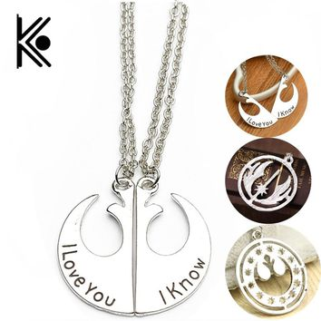 Star Wars Rebel Alliance Necklace I love you I know Necklaces for Movie & TV accessories Lovers Necklace Pendant Women jewelry