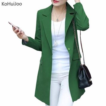 KoHuiJoo Spring Autumn Women Long Blazers and Jackets New Casual Female Suit Jacket Slim Lapel Coat Plus Large Size Green