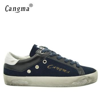 CANGMA British Style Men Shoes Navy Blue Genuine Leather Sneakers Suede Shoes Man Casual Mens Footwear Old Skoo Shoes Male