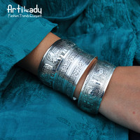 Artilady boho antic silver cuff copper bangle bohemia antalya carve pattern Statement bangle