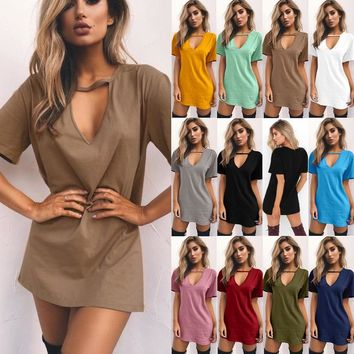 Summer Dress 2019 Casual Tunic Dress Women Mini Bodycon Dress Sexy V Neck Cut out Solid Short Sleeve Loose T-Shirt Dress Ladies