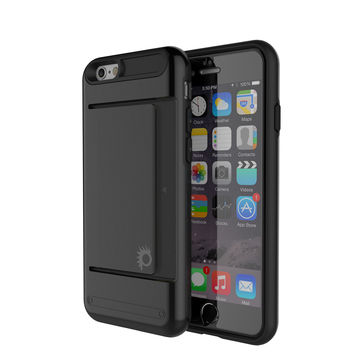 iPhone 6/6s Plus Case PunkCase CLUTCH Black Series Slim Armor Soft Cover Case w/ Tempered Glass