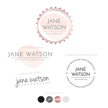 Rose gold logo design, Watercolor, Watermark Stamp, Custom Logo Design, Unique Branding kit Premade Package Wreath logo Photography Logo, 38