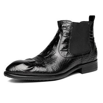Men's Boots 100% Genuine Leather Winter Timber Boots Brand Italian Style Luxury Winter