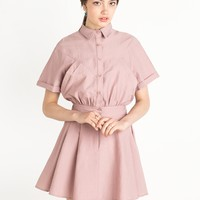 Pink Fit and Flare Shirt Dress