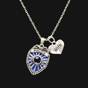 Blue Police Shield Badge Wife Heart Gift For Police Wife Charm Necklace