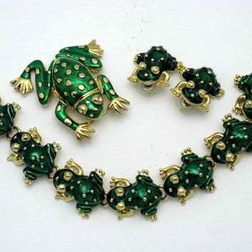 KJL Kenneth Jay Lane Metallic Enamel Frog WATCH Brooch Bracelet Earring Set