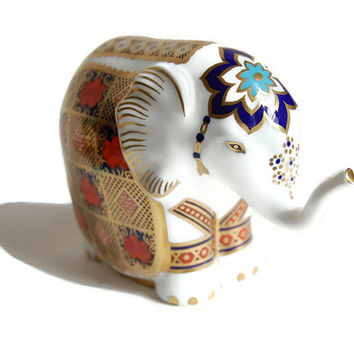Royal Crown Derby Elephant Paperweight Vintage Bone China First Quality Gold Stopper Imari Animal Figurine Collectibles Home Decor Gift