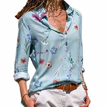 Dokotoo Womens V Neck Floral Print Button Down T Shirts Casual Blouses Tops (S-XXL)