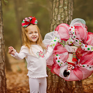 Girls Christmas outfit, Embroidered Christmas outfit, Toddler Christmas outfit, Christmas monogrammed outfit, Christmas set, Christmas bow