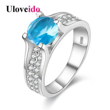 Uloveido Women's Rings with Blue Stone Rings for Women Large Cubic Zirconia 2017 Brincos Silver Anel Sale Bijoux Jewellery Y006