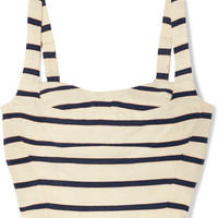 Veronica Beard - Gina metallic striped cotton-canvas bustier