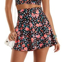 High-Waisted Floral Print Skater Skirt